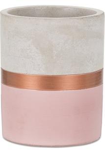Vaso Em Cimento 11X9Cm Rosa E Cobre