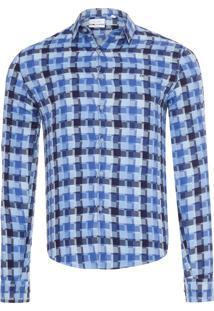 Camisa Masculina Slim Canne Xadrez Personali - Azul