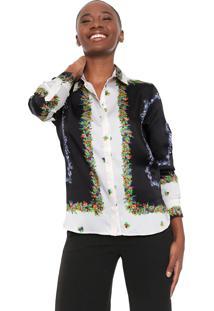 Camisa Desigual Cocci Preta/Of-White