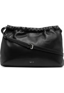 Agnès B. Drawstring-Top Leather Shoulder Bag - Preto