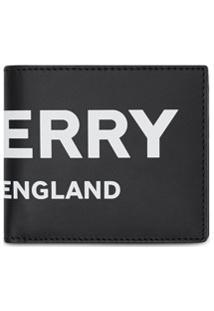 Burberry Carteira International De Couro Com Logo - Preto