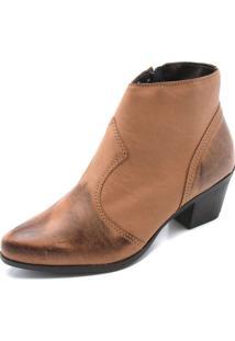 Bota Dafiti Shoes Recorte Caramelo