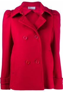 Red Valentino Jaqueta Com Abotoamento Duplo E Detalhe Franzido - Vermelho