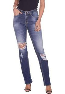 Calça Jeans Osmoze Mid Rise Slim Feminina - Feminino-Azul