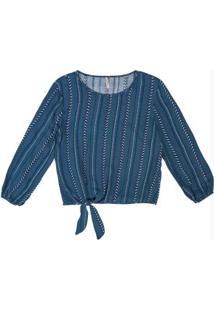 Blusa Com Amarração Azul