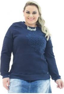 Moletom Jeans Confidencial Extra Com Bordado Plus Size Feminino - Feminino-Azul Escuro