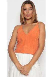 Blusa Cropped Com Recortes - Laranja - Aboutabout