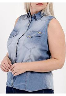 Camisa Jeans Regata Plus Size Feminina Azul