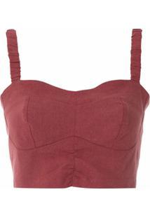 Framed Top Cropped Linen - Vermelho