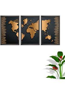 Quadro Oppen House 60X120Cm Mapa Mundi Vector Marrom Moldura Sem Vidro Fundo Branco Altas Países Decorativo Interiores