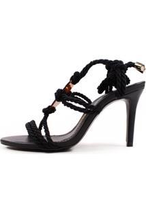 Sandália Salto Fino Alto Preta Cordão Com Acrílico