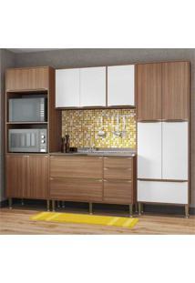 Cozinha Compacta Multimóveis Com 4 Peças Calábria 5452 Nogueira/Branco Marrom