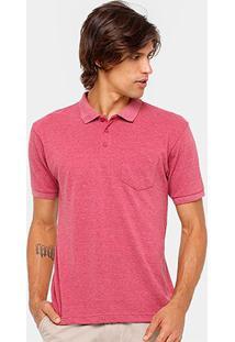 Camisa Polo Broken Rules Piquet Lisa Bolso Masculina - Masculino-Vermelho Claro