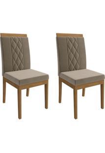 Conjunto Com 2 Cadeiras De Jantar Alice Suede Madeira E Joli