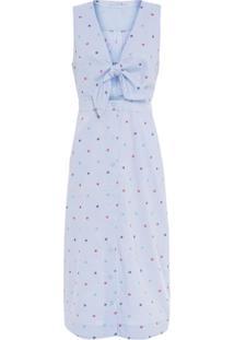 Vestido Amarração Bordado Moderninho Cantão - Azul