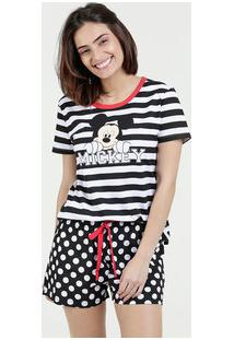 Pijama Feminino Short Doll Listrado Estampa Mickey Disney