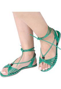 Sandália Rasteira Mercedita Shoes Amarração Metalizada Verde Tartaruga Ultra Conforto