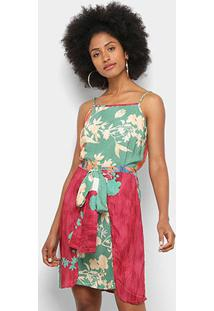 Vestido Mercatto Estampado - Feminino-Verde