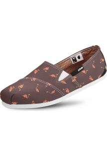 Alpargata Usthemp Slim Vegano Casual Estampa Flamingo Marrom