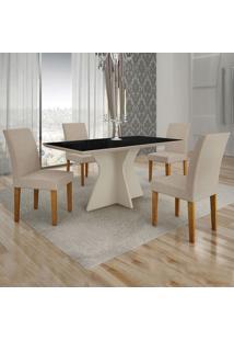 Conjunto De Mesa De Jantar Creta Ii Com 4 Cadeiras Olímpia Veludo Preto E Palha
