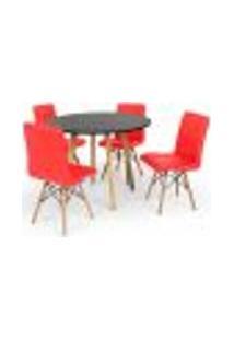 Conjunto Mesa De Jantar Laura 100Cm Preta Com 4 Cadeiras Eiffel Gomos - Vermelha