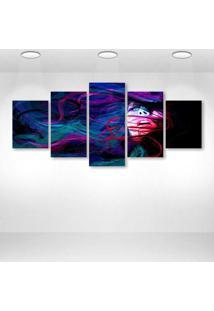 Quadro Decorativo - Face Hair Art (2) - Composto De 5 Quadros - Multicolorido - Dafiti