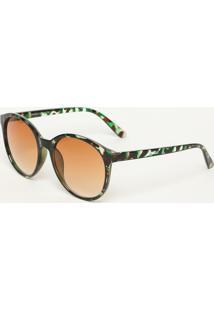 Óculos De Sol Arredondado - Verde & Marromcavalera