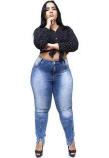 Calça Plus Size Credencial Jeans Luyssa Feminina - Feminino-Azul