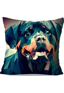 Capa De Almofada Avulsa Decorativa Rottweiler Geométrico 35X35Cm