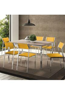 Mesa 1526 Nogueira Cromada Com 6 Cadeiras 1709 Amarela Carraro