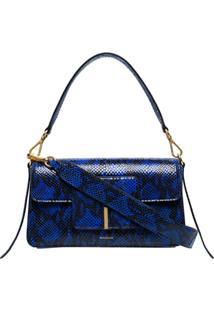 Wandler Bolsa Tiracolo Georgia Com Efeito Pele De Cobra - Azul