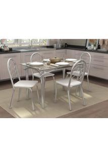 Conjunto De Mesa Com 4 Cadeiras Miriam Cromado E Branco