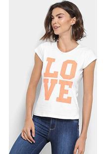 Camiseta Flora Zuu Estampa Love Feminina - Feminino-Branco
