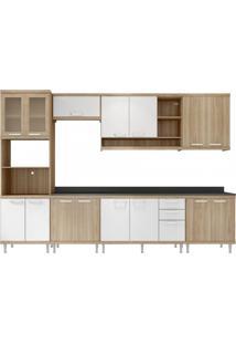 Cozinha Completa Com Balcão Com Tampo 8 Peças 15 Portas Sicília Multimóveis Argila/Branco