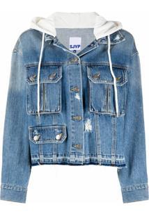 Sjyp Jaqueta Jeans Com Capuz - Azul