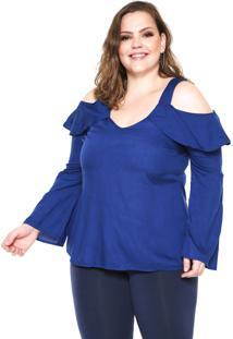 Blusa Ciganinha Wee! Babados Plus Size Azul