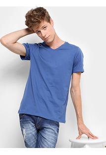 Camiseta Drezzup Gola V Masculina - Masculino-Azul Claro