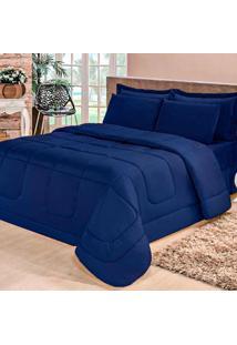 Kit Edredom Confort Casa Dona Dupla Face Casal Queen 6 Pçs Com Lençol Azul Marinho