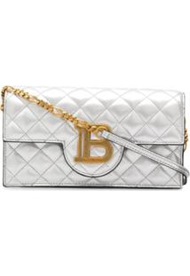 Balmain Quilted B Logo Shoulder Bag - Prateado