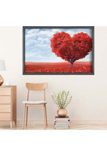 Quadro Love Decor Com Moldura Heart Tree Grafitti Metalizado Médio