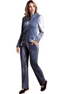 Jaqueta Moleton Malha Energia Fashion Azul