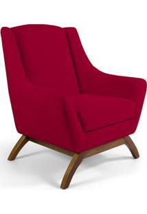 Poltrona Decorativa Sala De Estar Base De Madeira Naomi Veludo Vermelho - Gran Belo