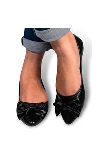 Sapatilha Feminina Sandália Rasteirinha Sapato Conforto Leve Preto Napa Eleganteria