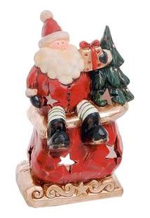 Porta Vela Cromus Com Papai Noel 1011526 - Vermelho E Verde