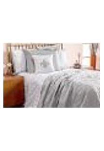 Kit Cobre Leito Cinza King Clássico 5 Peças 3,10M X 2,70M Com Porta Travesseiro E Almofada Decorativa