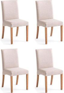 Conjunto Com 4 Cadeiras De Jantar Filipeta Creme E Castanho