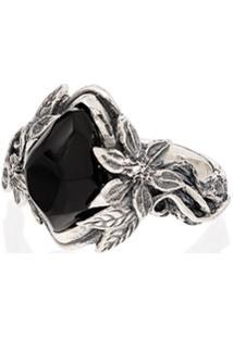 Lyly Erlandsson Anel Aria De Prata Com Pedras - Silver - Black
