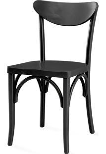 Cadeira Mesa De Jantar De Madeira - Laca Preta - Amélie - 44,5X45X81 Cm