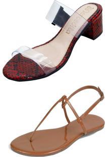 Kit Sandália Tamanco Salto E Rasteira Mercedita Shoes Cristal Com Cobra Vermelho E Verniz Caramelo