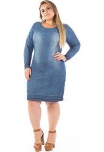 Vestido Jeans Confidencial Tubinho Clare Plus Size - Feminino-Azul
